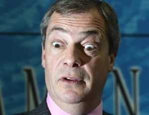 Nigel Farage looking startled